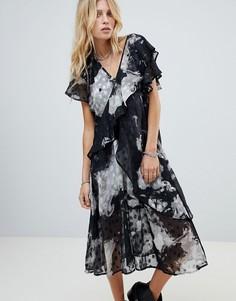 Ярусное платье миди в фактурный горошек Religion - Серый