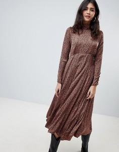 Платье миди со звериным принтом Free People Loveless - Коричневый