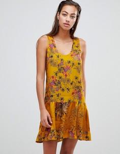 Свободное платье мини с цветочным принтом Sisley - Желтый