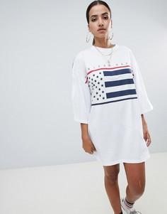 Белое свободное платье-футболка с принтом Missguided - Белый