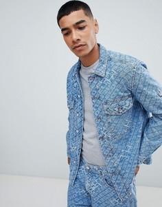Свободная джинсовая куртка со сплошным принтом логотипа Diesel D-Late - Синий
