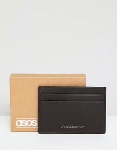 Коричневая кожаная кредитница с тиснением металлик ASOS DESIGN - Коричневый