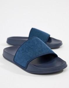Темно-синие шлепанцы с махровым верхом ASOS DESIGN - Темно-синий