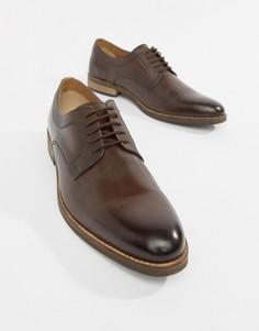 Коричневые кожаные туфли на шнуровке с подошвой натурального цвета ASOS DESIGN - Коричневый