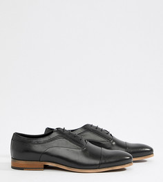 Черные кожаные туфли для широкой стопы на шнуровке с натуральной подошвой ASOS DESIGN - Черный