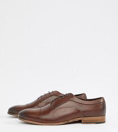 Коричневые кожаные туфли на шнуровке для широкой стопы с натуральной подошвой ASOS DESIGN - Коричневый