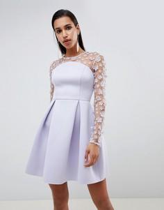 Платье мини бандо для выпускного с цветочным кружевом ASOS DESIGN - Фиолетовый