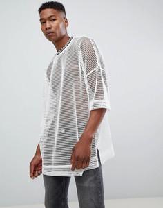 Сетчатая супердлинная оversize-футболка с кантом ASOS DESIGN - Белый