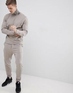 Бежевый меланжевый спортивный костюм из свитшота и джоггеров скинни ASOS DESIGN - Бежевый