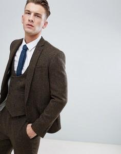 Коричневый облегающий пиджак из 100% шерстяного твида Харрис ASOS DESIGN - Коричневый