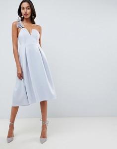 Премиум-платье для выпускного миди с цветочной отделкой ASOS DESIGN - Серый
