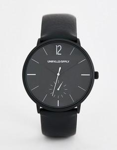 Черно-белые часы с черным ремешком из кожзаменителя ASOS DESIGN - Черный