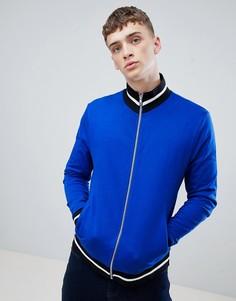 Ярко-синяя трикотажная куртка с контрастной отделкой ASOS DESIGN - Синий