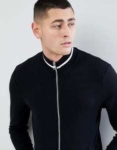 Черная облегающая спортивная куртка с контрастной отделкой ASOS DESIGN - Черный