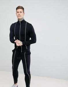 Черный спортивный костюм из облегающей спортивной куртки и облегающих джоггеров ASOS DESIGN - Черный