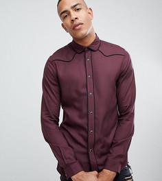 Бордовая вискозная рубашка классического кроя в стиле вестерн ASOS DESIGN Tall - Красный