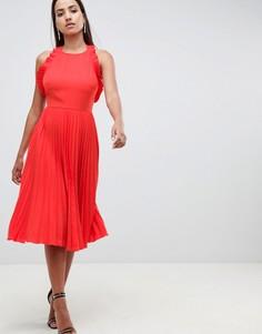 Плиссированное платье миди с оборками и открытой спиной ASOS DESIGN - Красный