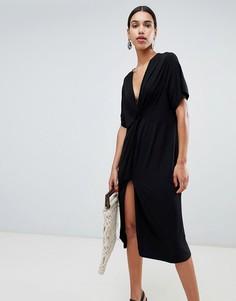 Свободное платье миди с узелком ASOS DESIGN - Черный