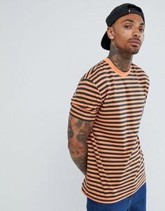 Свободная футболка в полоску ASOS DESIGN - Оранжевый