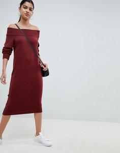 Трикотажное платье миди с открытыми плечами ASOS DESIGN - Красный