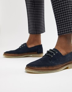 Темно-синие замшевые туфли на шнуровке с кожаной отделкой ASOS DESIGN - Темно-синий