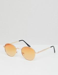 Круглые солнцезащитные очки в золотистой оправе с оранжевыми стеклами ASOS DESIGN - Золотой