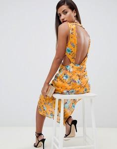Жаккардовое платье миди с цветочным принтом и открытой спиной ASOS DESIGN - Мульти