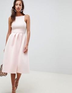 Платье миди для выпускного с бретелями и открытой спиной ASOS DESIGN - Розовый
