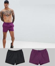 Комплект из 2 коротких шорт для плавания (черные/фиолетовые) ASOS DESIGN - Скидка - Мульти