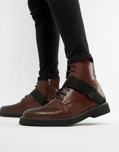 Бордовые кожаные ботинки на массивной подошве ASOS DESIGN - Красный