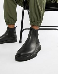 Черные кожаные ботинки челси на толстой подошве ASOS DESIGN - Черный