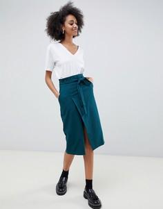 Строгая юбка-карандаш с поясом оби ASOS DESIGN - Зеленый