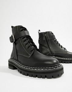 Кожаные премиум-ботинки на массивной подошве со шнуровкой ASOS DESIGN - Черный