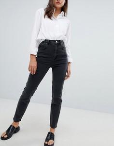 Черные выбеленные джинсы слим в винтажном стиле с завышенной талией ASOS DESIGN Farleigh - Черный