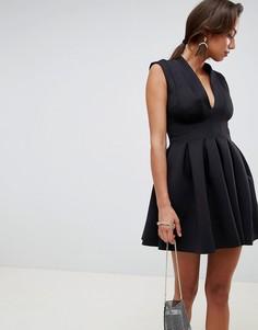 Платье мини для выпускного с открытой спиной ASOS DESIGN - Черный