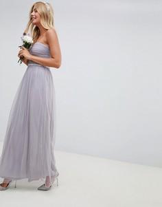 Сетчатое платье-бандо макси с отделкой на талии ASOS DESIGN Bridesmaid - Фиолетовый