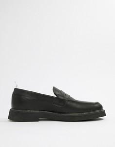 Черные кожаные лоферы с толстой подошвой ASOS DESIGN - Черный