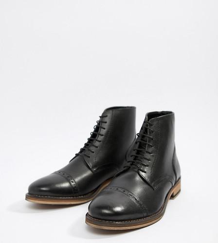 Черные кожаные ботинки-броги на шнуровке ASOS - Черный