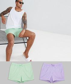 Комплект из 2 коротких шорт для плавания (зеленые/фиолетовые) ASOS DESIGN - Скидка - Мульти
