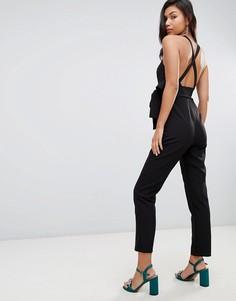 Комбинезон с запахом и широкими брюками со складками ASOS DESIGN - Черный