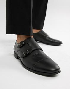 Черные монки из искусственной кожи с тисненой вставкой ASOS DESIGN - Черный