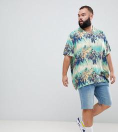 Oversize-рубашка с гавайским пальмовым принтом и отложным воротником ASOS DESIGN Plus - Синий