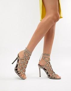 Босоножки на каблуке с ремешками ASOS DESIGN - Серый