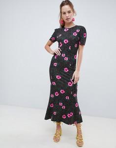b4e80f890311a34 Монохромное чайное платье макси в горошек с цветочным принтом ASOS DESIGN -  Мульти