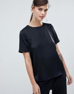 Черная блузка с планкой на рукавах River Island - Черный