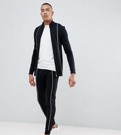 Черный спортивный костюм из облегающей спортивной куртки и облегающих джоггеров с окантовкой ASOS DESIGN tall - Черный