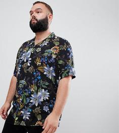 Черная рубашка классического кроя с цветочным принтом и отложным воротником ASOS DESIGN Plus - Черный