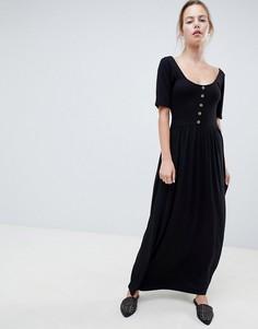 Платье макси из смешанной ткани с черепаховыми пуговицами ASOS DESIGN - Черный