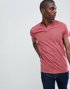 Красная футболка с разрезом ASOS DESIGN - Красный