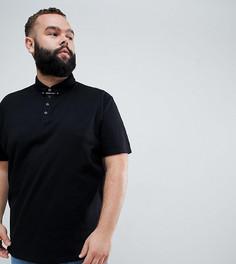 Свободная футболка-поло с булавкой для галстука ASOS DESIGN Plus - Черный